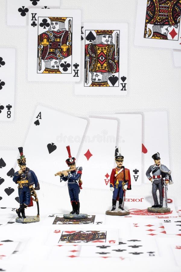 Trzy figurki hussar i flecista w tle karta do gry zdjęcia royalty free