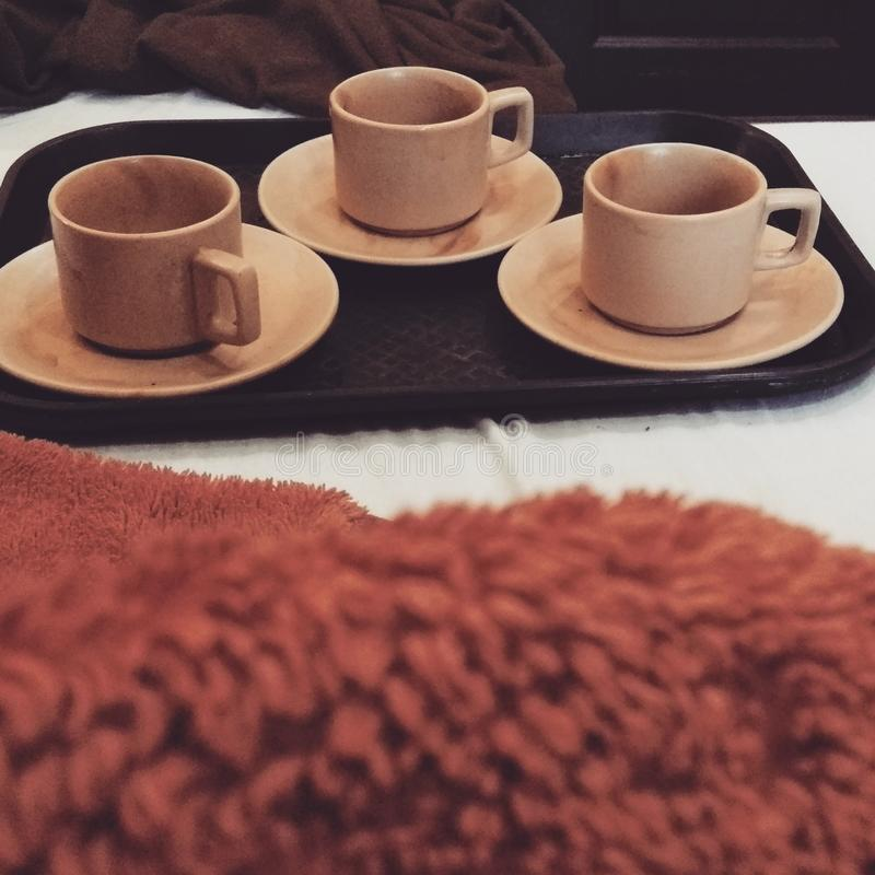Trzy filiżanek herbata obrazy royalty free
