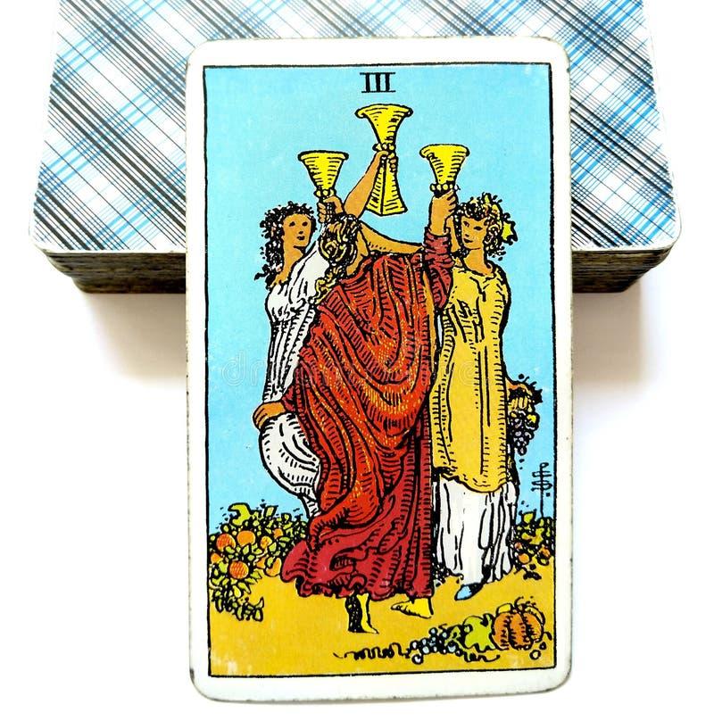 3 Trzy filiżanki Tarot karty wzrost i rozwój świętowania ślubów grzanek Emocjonalni przyjaciele ilustracji
