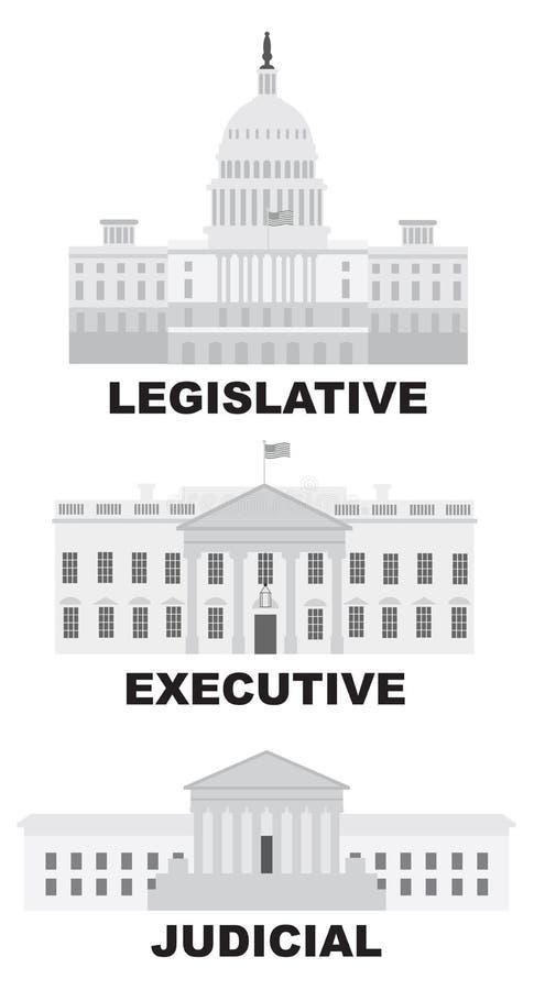 Trzy gałąź USA Rządowa Wektorowa ilustracja ilustracja wektor