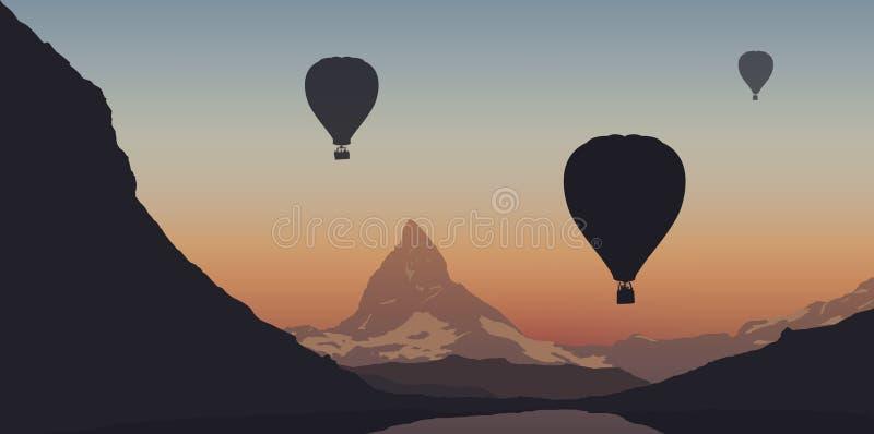 Trzy gorące powietrze balonu lata nad Matterhorn w Szwajcaria podczas turystycznego programa royalty ilustracja