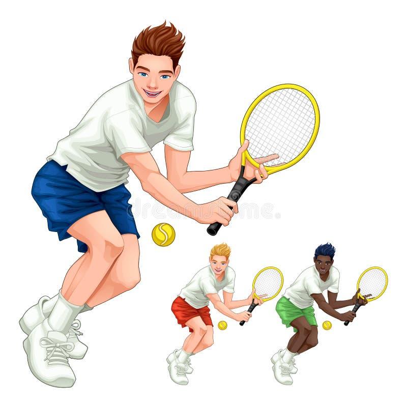 Trzy gracza w tenisa z różnymi włosy, skóry i sukni kolorami, royalty ilustracja