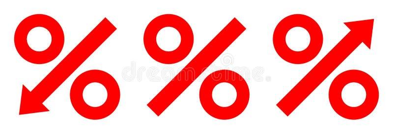 Trzy Graficznej procent strzały Czerwonej ilustracja wektor