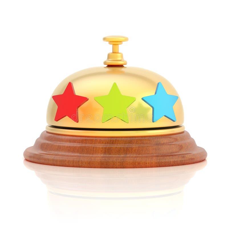 Trzy gwiazdowych hoteli/lów recepcyjny dzwon royalty ilustracja