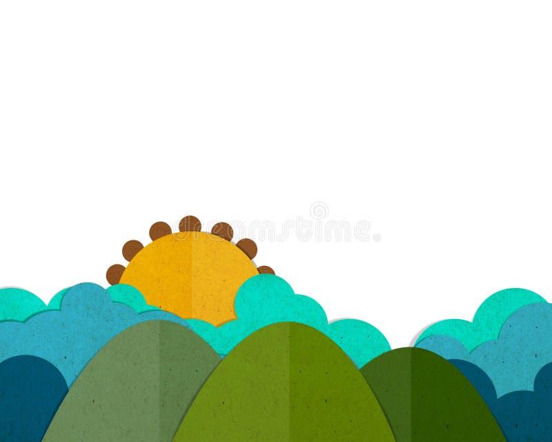 Trzy halny i słońce set ilustracja wektor