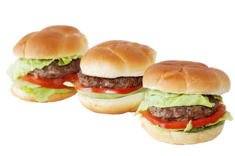 Trzy Hamburgeru zdjęcie stock