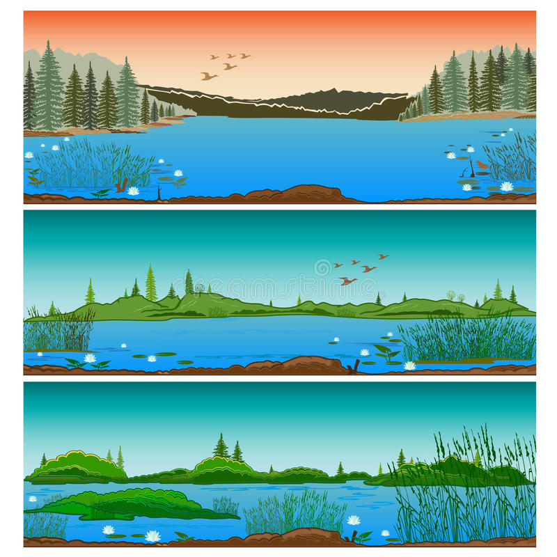 Trzy horyzontalnego rzeka krajobrazu ilustracji