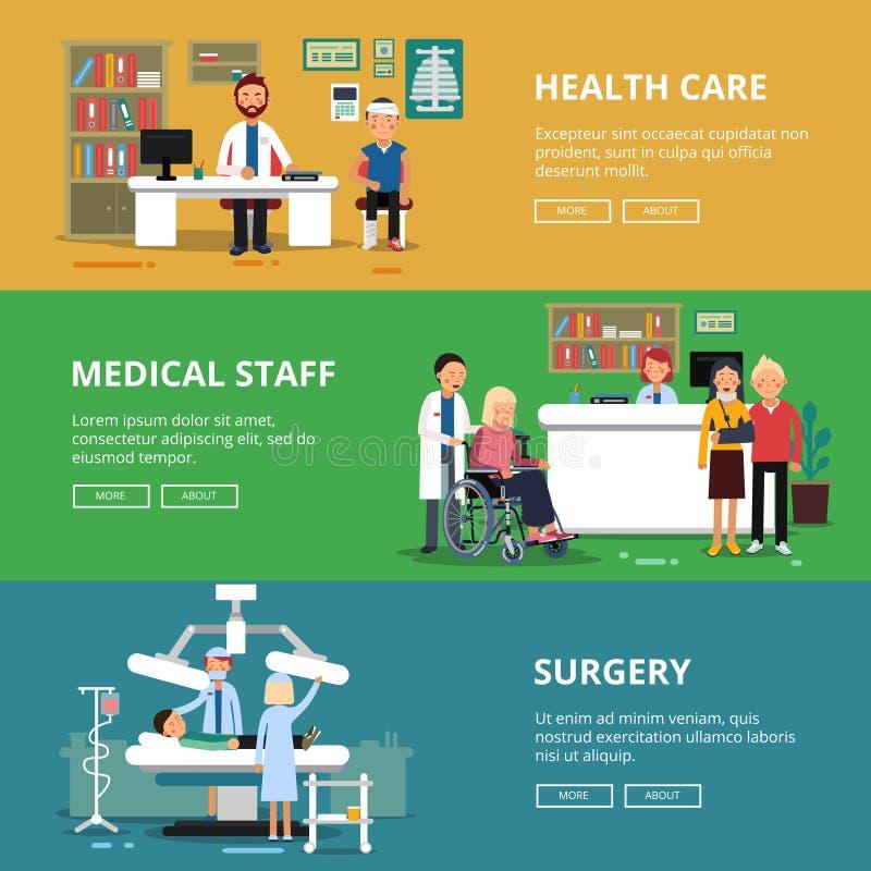Trzy horyzontalnego wektorowego sztandaru opieki zdrowotnej pojęcia obrazki Medyczni pokoje i biura w szpitalu Pacjenci i ilustracji