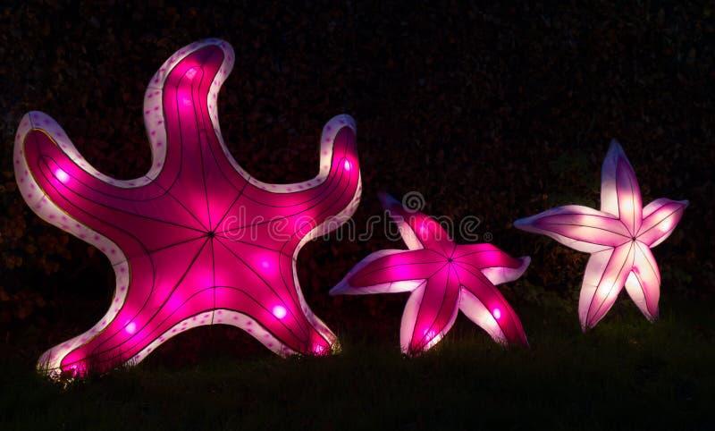 Trzy iluminującego rozgwiazda chińczyka lampionu fotografia stock