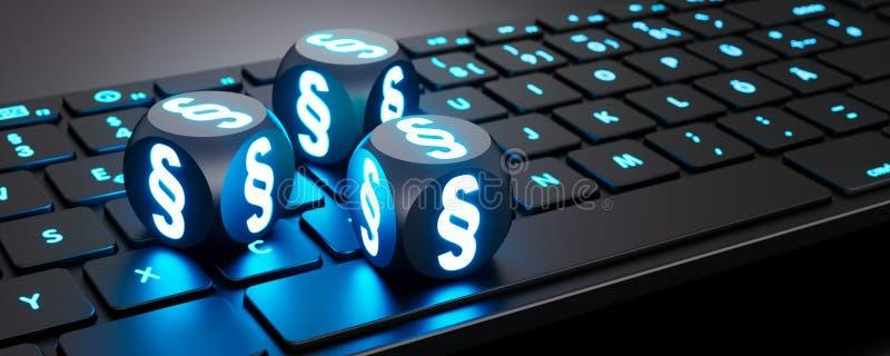 Trzy iluminującej kostki do gry z akapitów symbolami na klawiaturze ilustracji