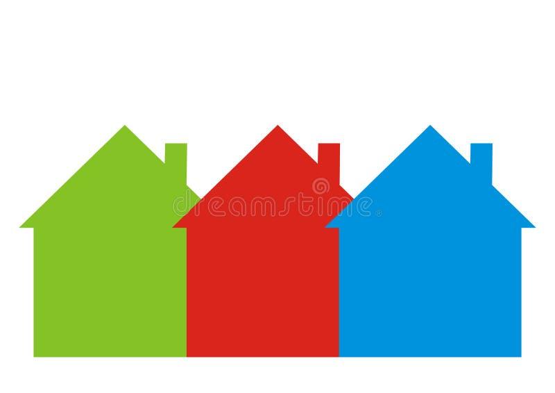 Trzy inaczej barwiącego domu royalty ilustracja