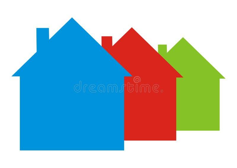 Trzy inaczej barwi?cego domu, wektorowa ikona ilustracji