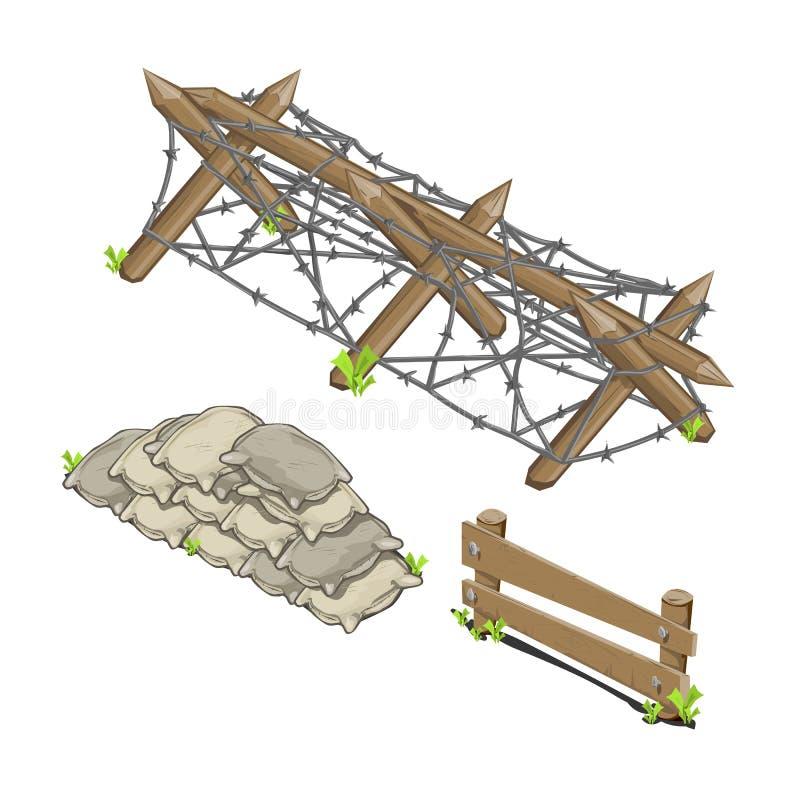 Trzy isometric bariery royalty ilustracja