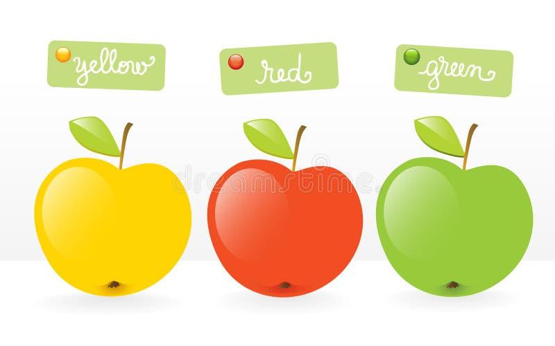 trzy jabłka owoców ilustracji
