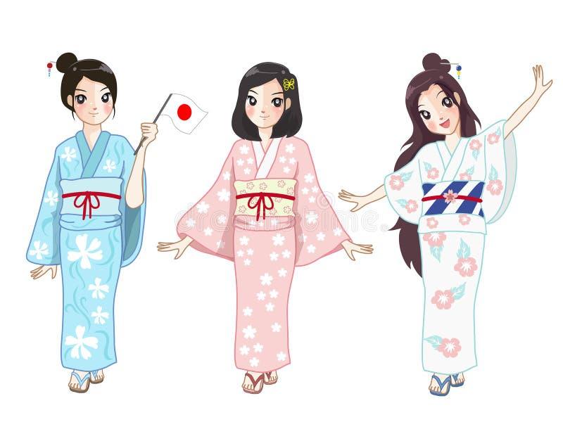 Trzy Japan dziewczyna w sukni royalty ilustracja
