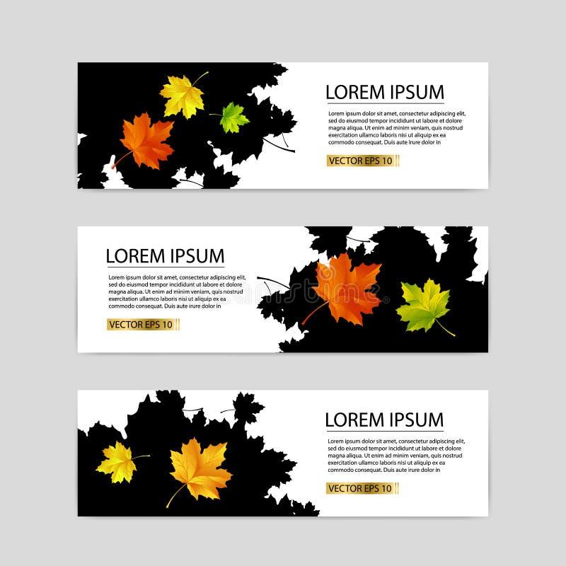 Trzy jesień sztandaru z kolorowymi liśćmi Wektorowymi ilustracji