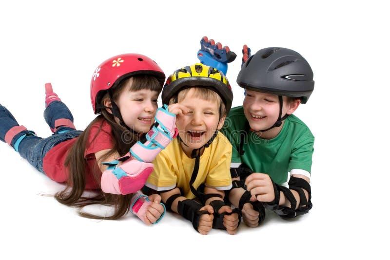trzy kaski dziecka fotografia stock