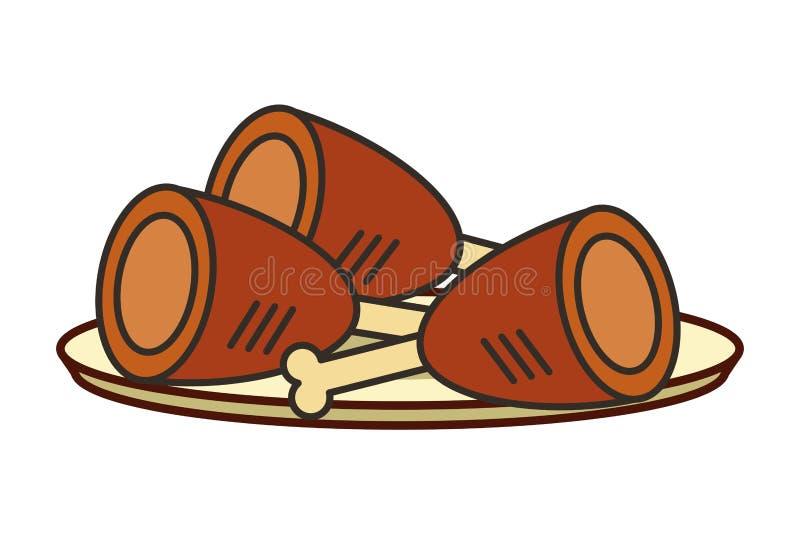 Trzy kawa?ka piec na grillu kurczaka na naczyniu royalty ilustracja
