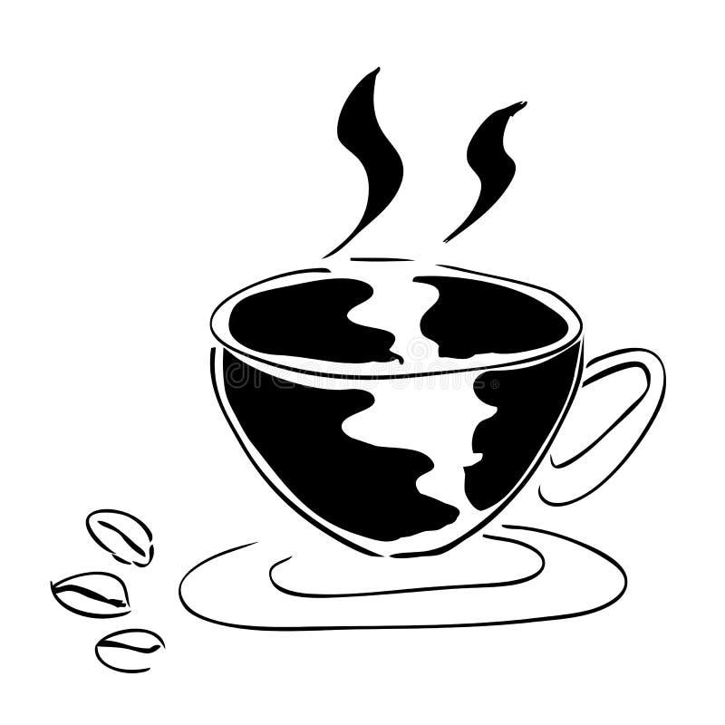 Trzy kawowa fasola i filiżanka kawy royalty ilustracja