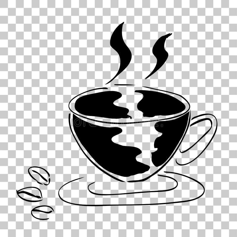 Trzy kawowa fasola i filiżanka kawy ilustracja wektor