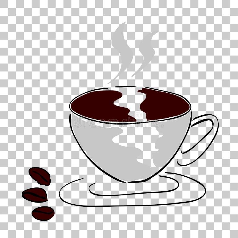 Trzy kawowa fasola i filiżanka kawy ilustracji