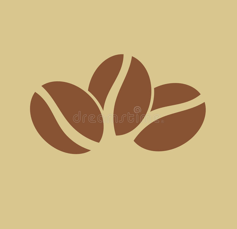 Trzy kawowych fasoli logo ilustracji