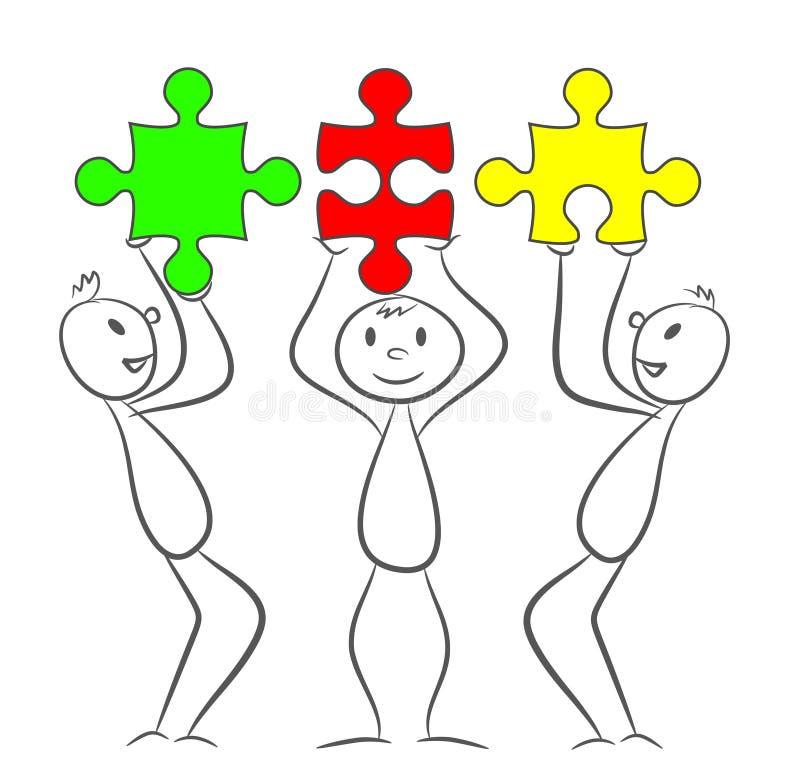 Trzy kija mężczyzna z prostokąt łamigłówki kawałkami Eps 10 wektoru illu ilustracji