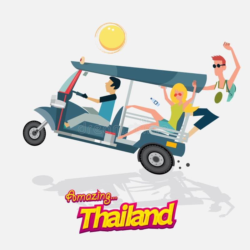 Trzy koła samochodowego z turystyką Tuku tuk Bangkok Tajlandia - vecto ilustracji