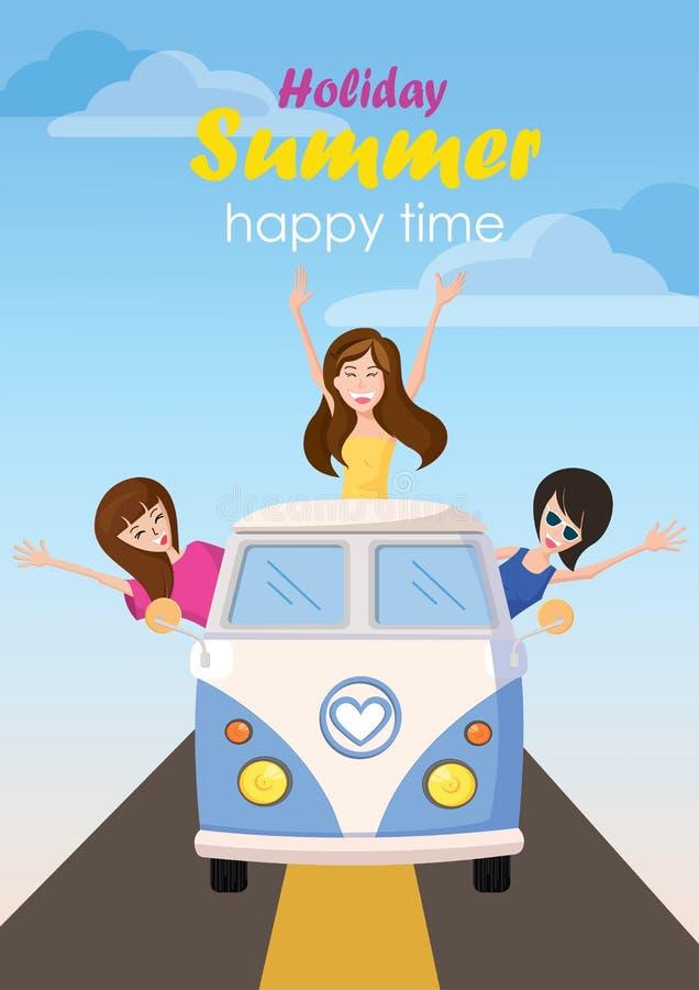 Trzy kobieta macha szczęśliwej podróży wakacyjnego lato z tekstem fotografia royalty free