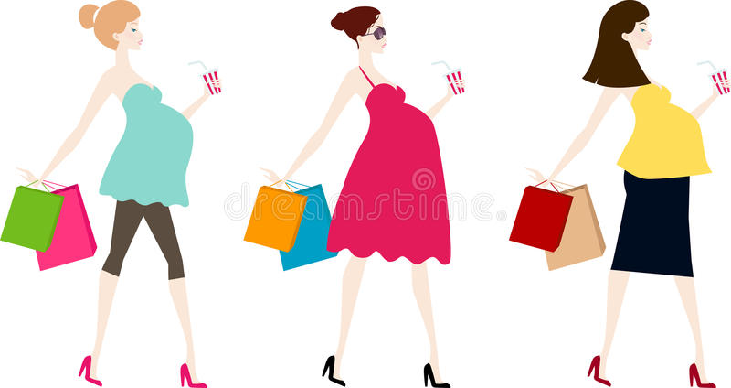 Trzy kobieta w ciąży ilustracja wektor