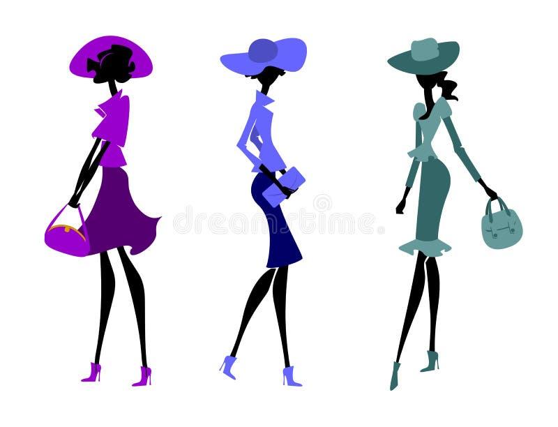 Trzy kobiety w kapeluszach ilustracja wektor