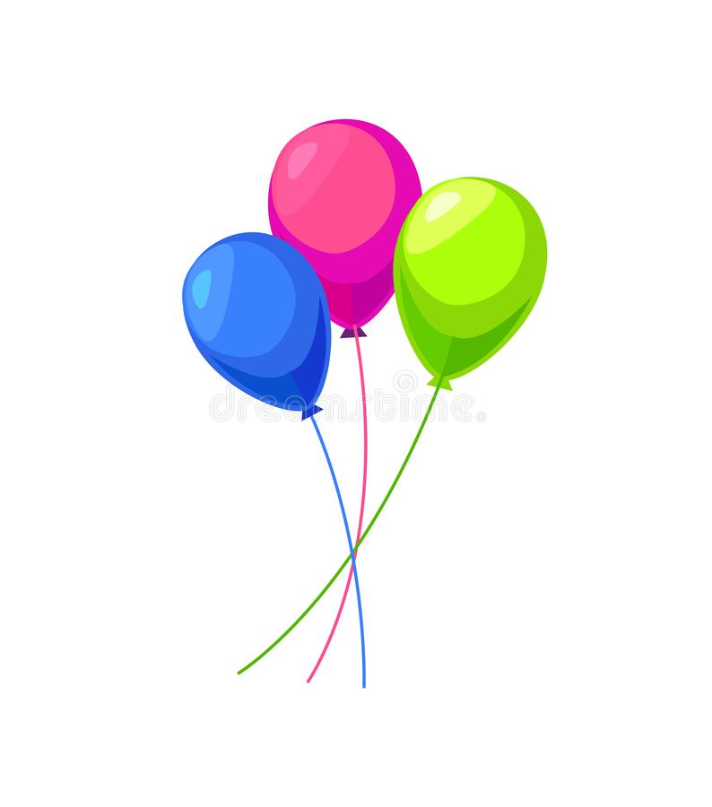 Trzy kolorów balonów Nadmuchiwany wektor Odizolowywający royalty ilustracja