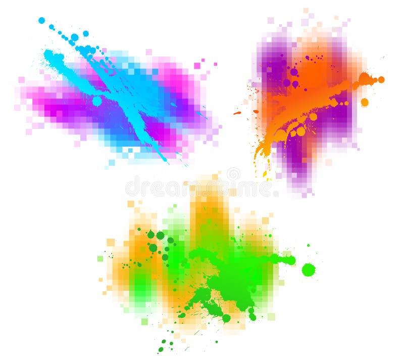 trzy kolorowe plusk royalty ilustracja