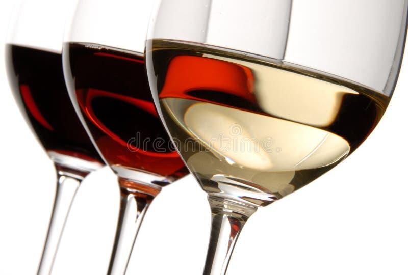 trzy kolorowe wina. zdjęcie royalty free