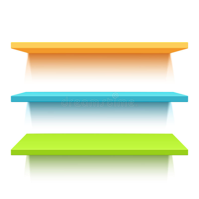 Trzy kolorowej realistycznej półki royalty ilustracja