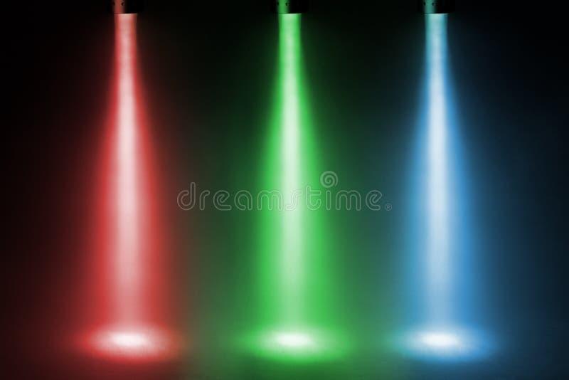 Trzy koloru światła reflektorów fotografia stock