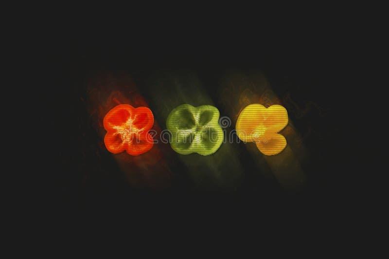 Trzy koloru pieprzu z usterka skutkiem na zmroku siwieją backgrou obraz royalty free