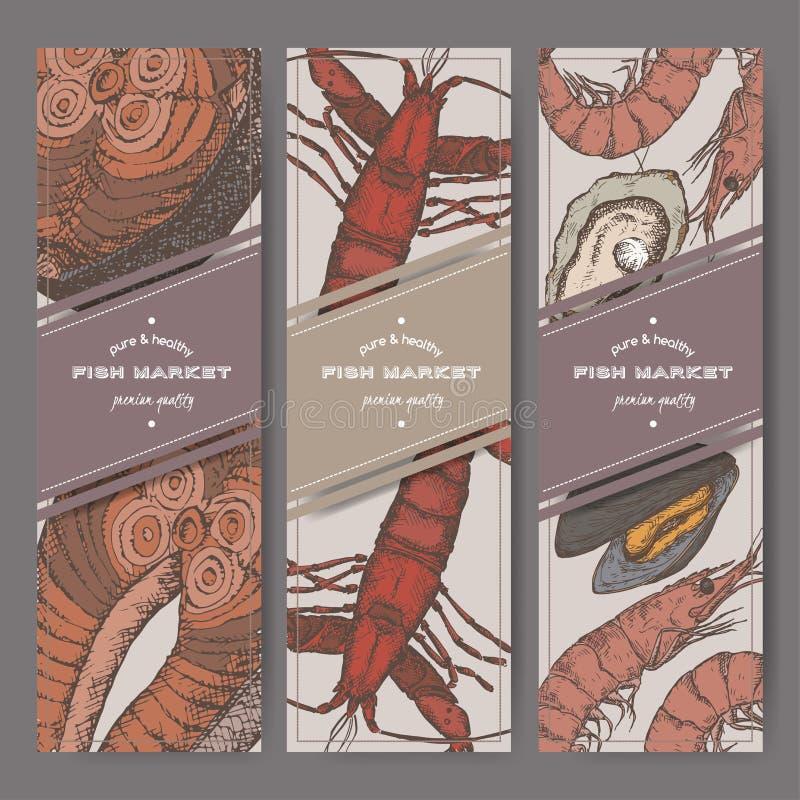 Trzy koloru pionowo sztandaru z ryba, garnele, homar, ostryga rocznik kreślą ilustracja wektor