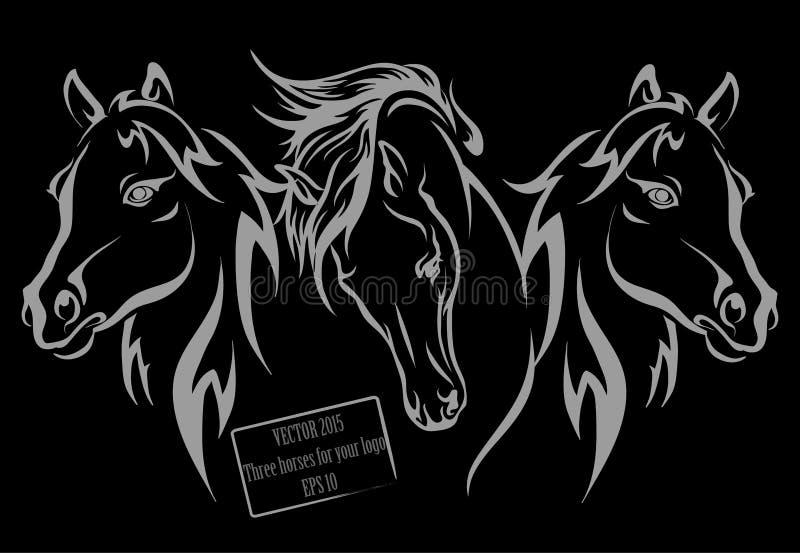 Trzy konia dla twój twórczości obrazy royalty free