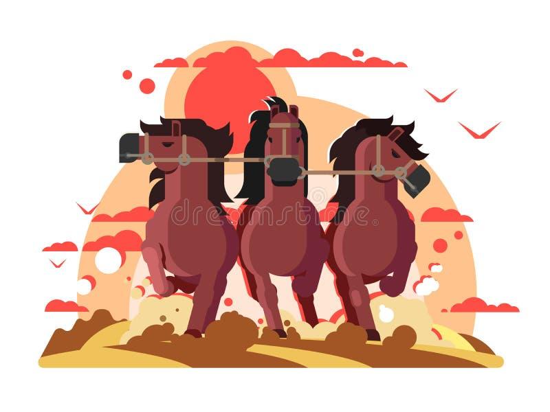 Trzy konia w nicielnica bieg royalty ilustracja