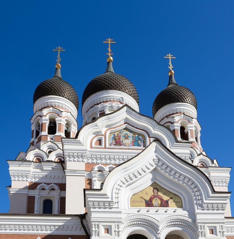 Trzy kopuł ofAlezander Nevskiy katedra w Tallinn zdjęcie stock