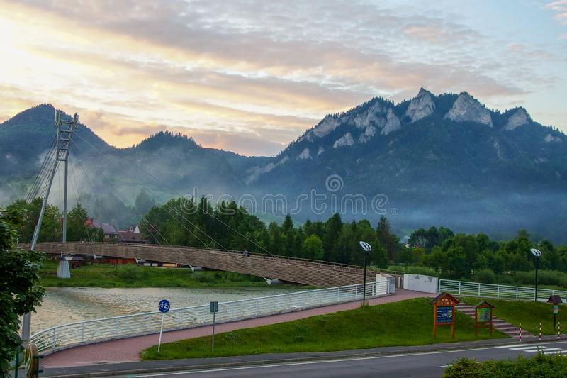 Trzy Korony peak over the river of Dunajec in Sromowce Niżne in Poland. Beautiful landscape on Trzy Korony, Three Crowns, Tri koruny, the summit of the Three royalty free stock image