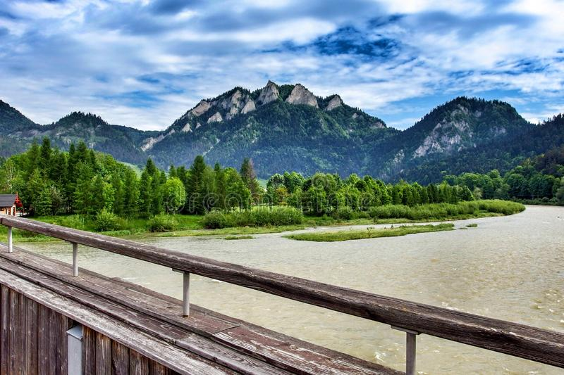 Trzy Korony peak over the river of Dunajec in Sromowce Niżne in Poland. Landscape on Trzy Korony, Three Crowns, Tri koruny, the summit of the Three Crowns royalty free stock photography