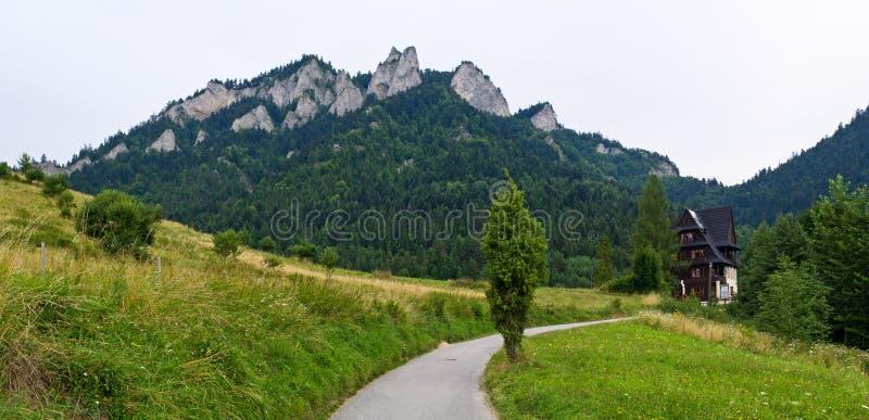 Trzy Korony peaks in Pieniny mountains. Poland royalty free stock image