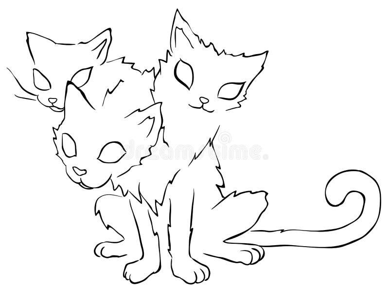 Trzy kota Głowiasty Kreskowy rysunek royalty ilustracja
