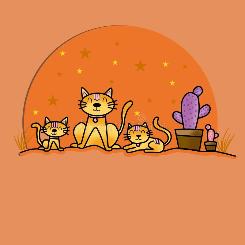 Trzy koty siedzące przy ścianie zdjęcie stock