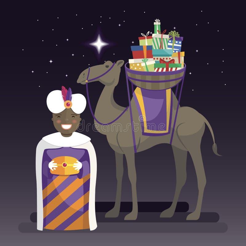 Trzy królewiątek dzień z królewiątkiem Balthazar, wielbłądem i prezentami przy nocą, royalty ilustracja