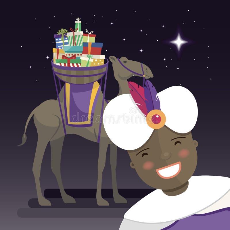 Trzy królewiątek selfie z królewiątkiem Balthazar, wielbłądem i prezentami przy nocą, royalty ilustracja