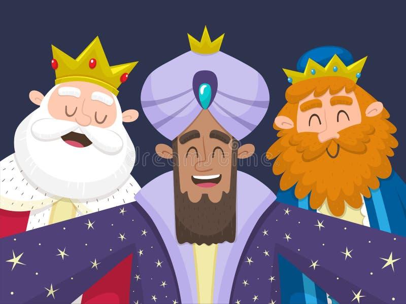 Trzy królewiątka bierze selfie ilustracji