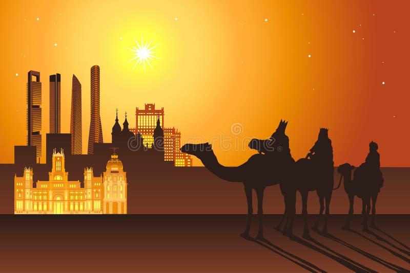 Trzy królewiątko przejażdżki wielbłąda Madryt miasto ilustracji